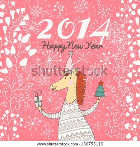 Happy 2014 Year of the Horse. Bright holiday card in vector. Funny cartoon horse in sweater with gifts  - stock vector