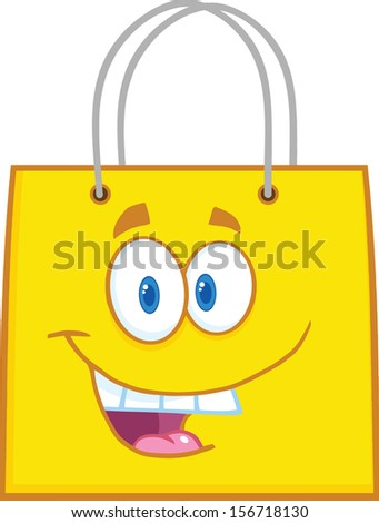 Happy Yellow Shopping Bag Cartoon Mascot Character - stock vector