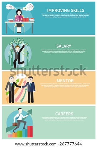 Happy young business man enjoying dollar rain. Financial adviser or business mentor help team partner up to profit growth. Improving skills. Business man with case rises to top step of stairs banners  - stock vector