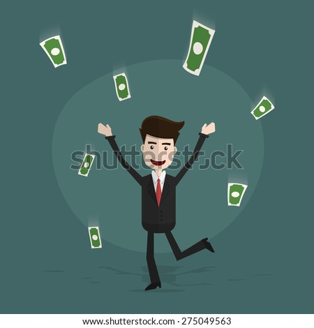 Happy young business man enjoying money rain,Business character pose,Vector EPS10.