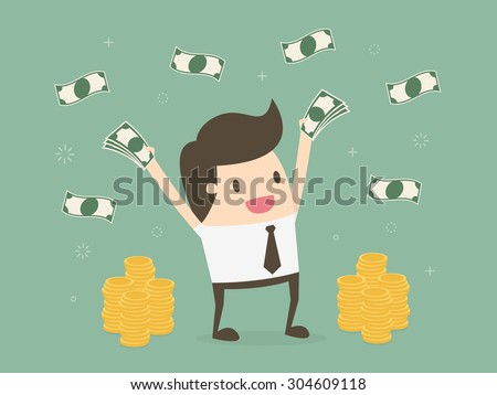Happy young businessman throwing money up. Business concept cartoon illustration - stock vector