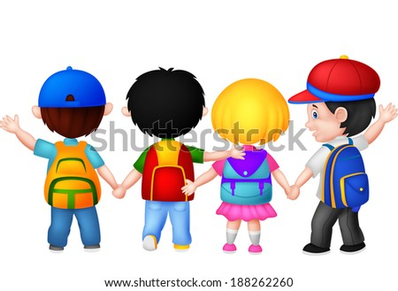 Happy young children walking together  - stock vector