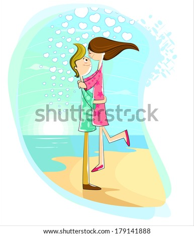Happy young couple having fun on the beach - stock vector