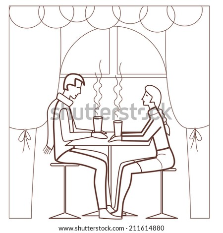 happy young couple in love (vector illustration) - stock vector
