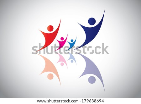 Happy Young family couple & children in joy & happiness. - stock vector