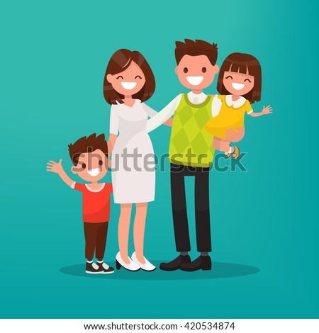 Happy young family. Vector illustration of a flat design.