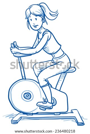Happy young fitness woman doing workout on exercise bicycle, hand drawn doodle vector illustration - stock vector