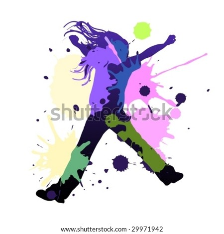 Happy young girl dancing in splash colors, vector illustration - stock vector