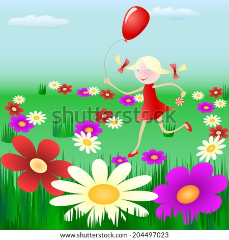 Happy young girl running with a red balloon in summer