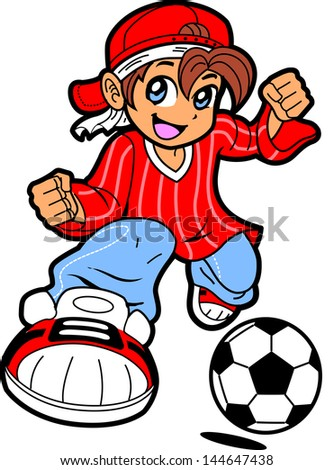 Happy Young Man Boy Soccer Player in Anime Manga Cartoon Style - stock vector