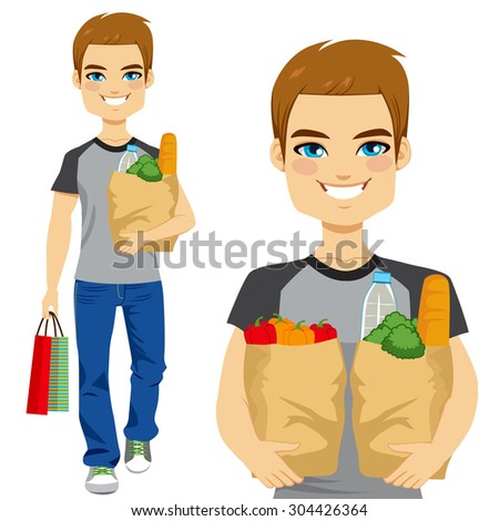 Happy young man carrying grocery paper bag full of healthy vegetables and other food and drinks - stock vector