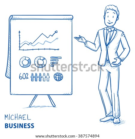 Happy young man in business suit holding hand as if explaining or presenting something (e.g product). Hand drawn line art cartoon vector illustration. - stock vector