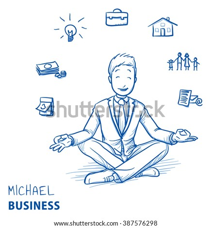 Happy young man in business suit sitting in yoga pose with icons of easily organizing life, business and family around him. Hand drawn line art cartoon vector illustration. - stock vector