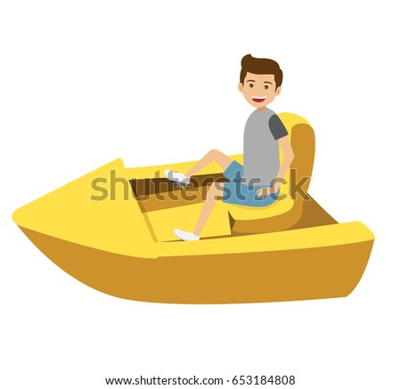 Happy Young Man Riding On A Yellow Paddle Boat Vector Illustration