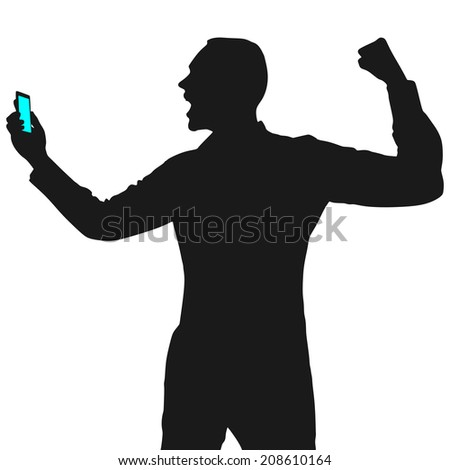 Happy young man talking on cellphone, vector