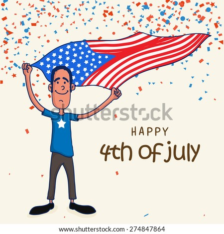 Happy young man waving American national flag for Happy 4th of July, Independence Day celebration on confetti decorated background. - stock vector