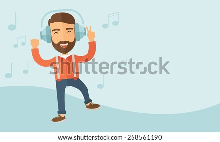 Happy young man with beard dancing, singing while listening to music with headphones showing the notes at his back. Happy concept. A contemporary style with pastel palette, soft blue tinted background - stock vector