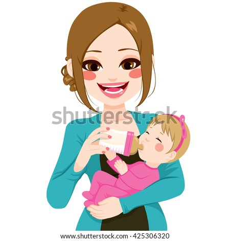 Happy young mother holding and feeding baby with milk bottle isolated on white background - stock vector