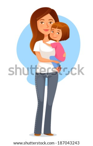 happy young mother holding her cute daughter