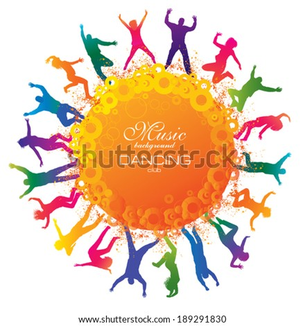 Happy young people. Detailed  silhouettes of dancing teenagers. Concept background. - stock vector
