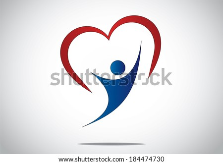 happy young person jumping with joy & happiness with red heart. youthful girl or woman dancing with both hands up with red colorful heart shaped symbol behind - concept design illustration art - stock vector