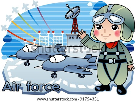 Happy Young Serviceperson with a smile at air force base in Jeju Island, South Korea on blue background - stock vector