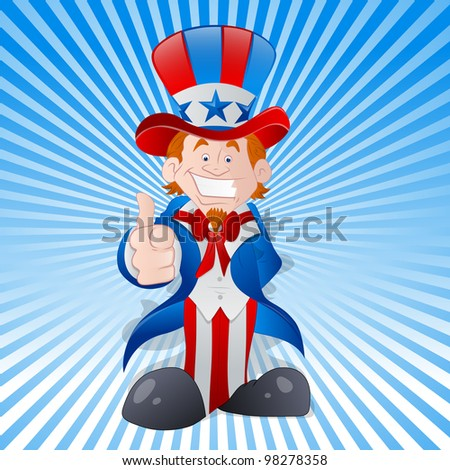 Happy Young Uncle Sam Vector - stock vector