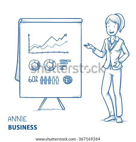 Happy young woman in business clothes holding hand as if explaining or presenting something (e.g product). Hand drawn line art cartoon vector illustration. - stock vector
