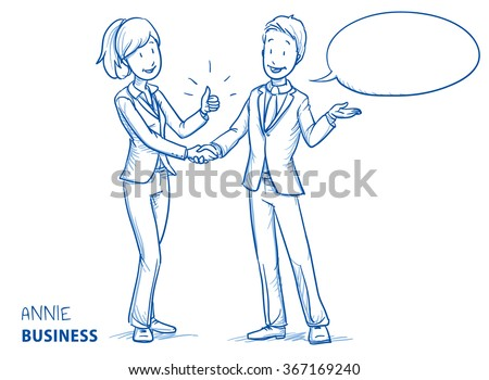 Happy young woman in business clothes showing thumb up and shaking hands with a young man. Hand drawn line art cartoon vector illustration. - stock vector