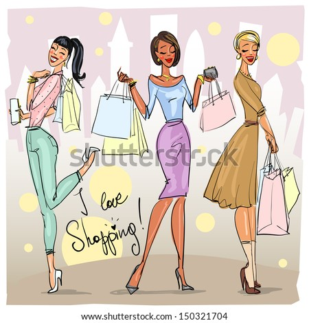 Happy young women with shopping bags walking down the street, Shopping doodles, sketch - stock vector