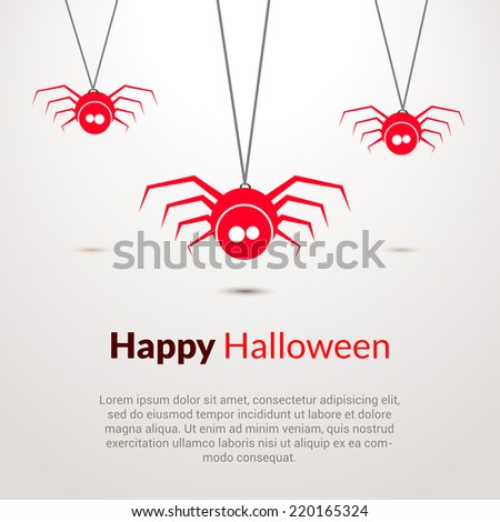 Hapy Halloween background with cute spiders  - stock vector