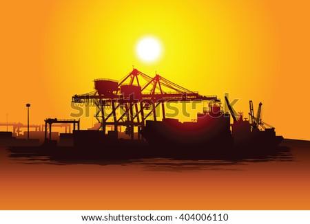 Harbor - stock vector