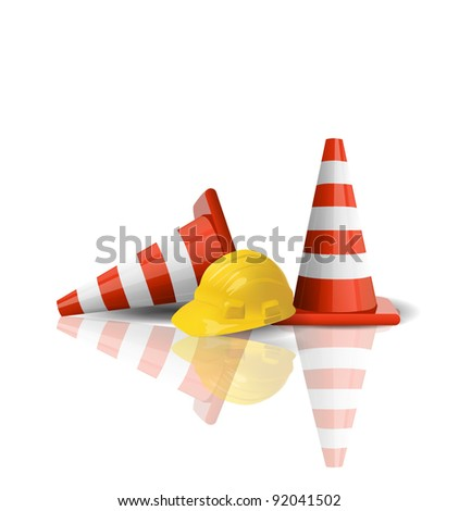 Hard cap with traffic cones isolated - stock vector