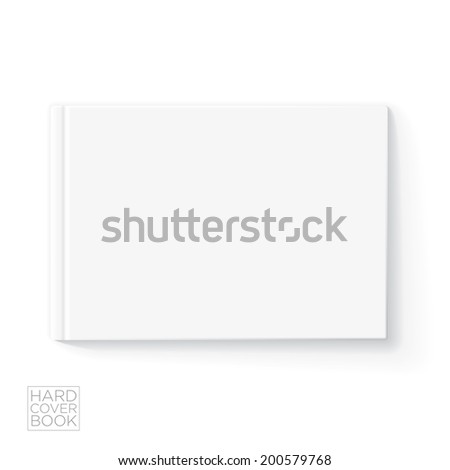 Hard cover horizontal book design template. Vector detailed illustration. - stock vector