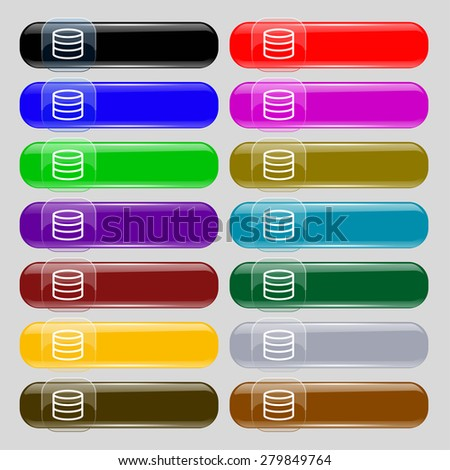 Hard disk and database  icon sign. Set from fourteen multi-colored glass buttons with place for text. Vector illustration - stock vector