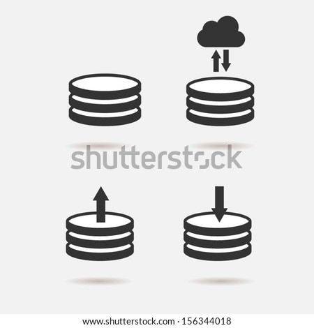 Hard disk icon set - stock vector