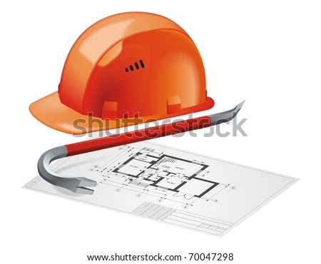 Hard Hat and Construction Plan vector - stock vector