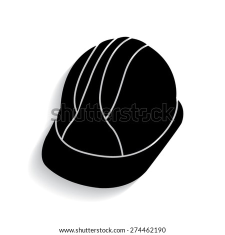 Hard Hat Construction Icon with shadow  - stock vector