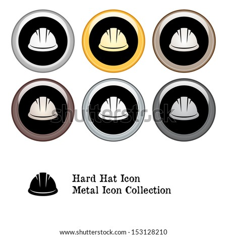 Hard Hat Icon Metal Icon Set - stock vector