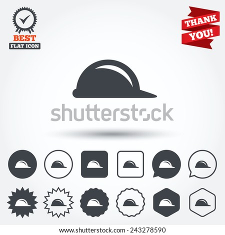 Hard hat sign icon. Construction helmet symbol. Circle, star, speech bubble and square buttons. Award medal with check mark. Thank you ribbon. Vector - stock vector