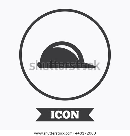 Hard hat sign icon. Construction helmet symbol. Graphic design element. Flat symbol in circle button. Vector - stock vector
