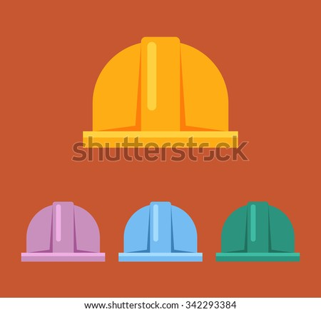 Hard hat vector flat sign icon set