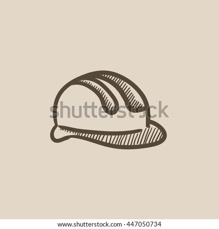 Hard hat vector sketch icon isolated on background. Hand drawn Hard hat icon. Hard hat sketch icon for infographic, website or app. - stock vector