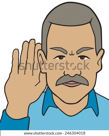 Hard of Hearing - stock vector
