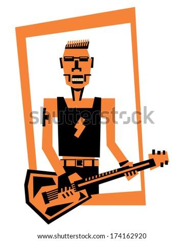 hard rock /heavy metal  guitar player - stock vector