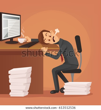Hard Work Tired Unhappy Office Worker Stock Vector ...