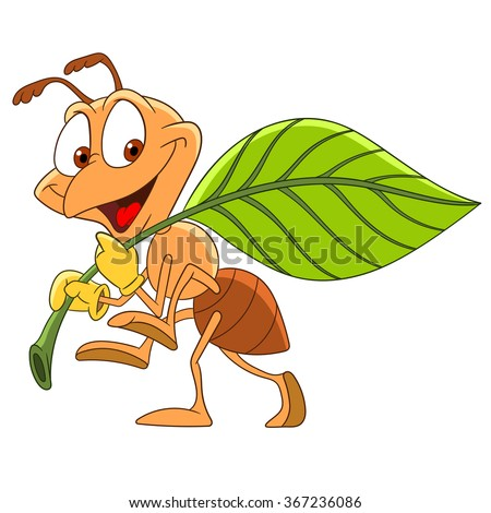 Hard Working Ant Carrying A Leaf Cartoon Character Isolated On White Background Colorful