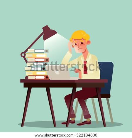 hard working business man with pile of work on desk vector cartoon illustration - stock vector