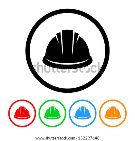 Hardhat Icon with Color Variations - stock vector