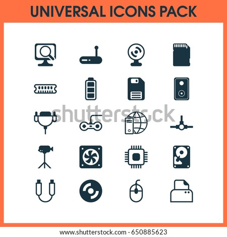 Hardware Icons Set Collection Dynamic Memory Stock Vector Royalty